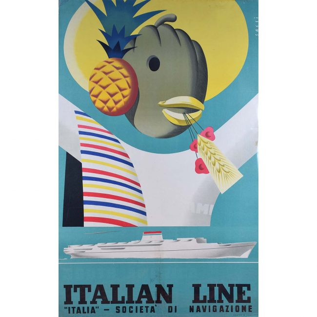 Sassi Italian Line Poster Society of Navigation