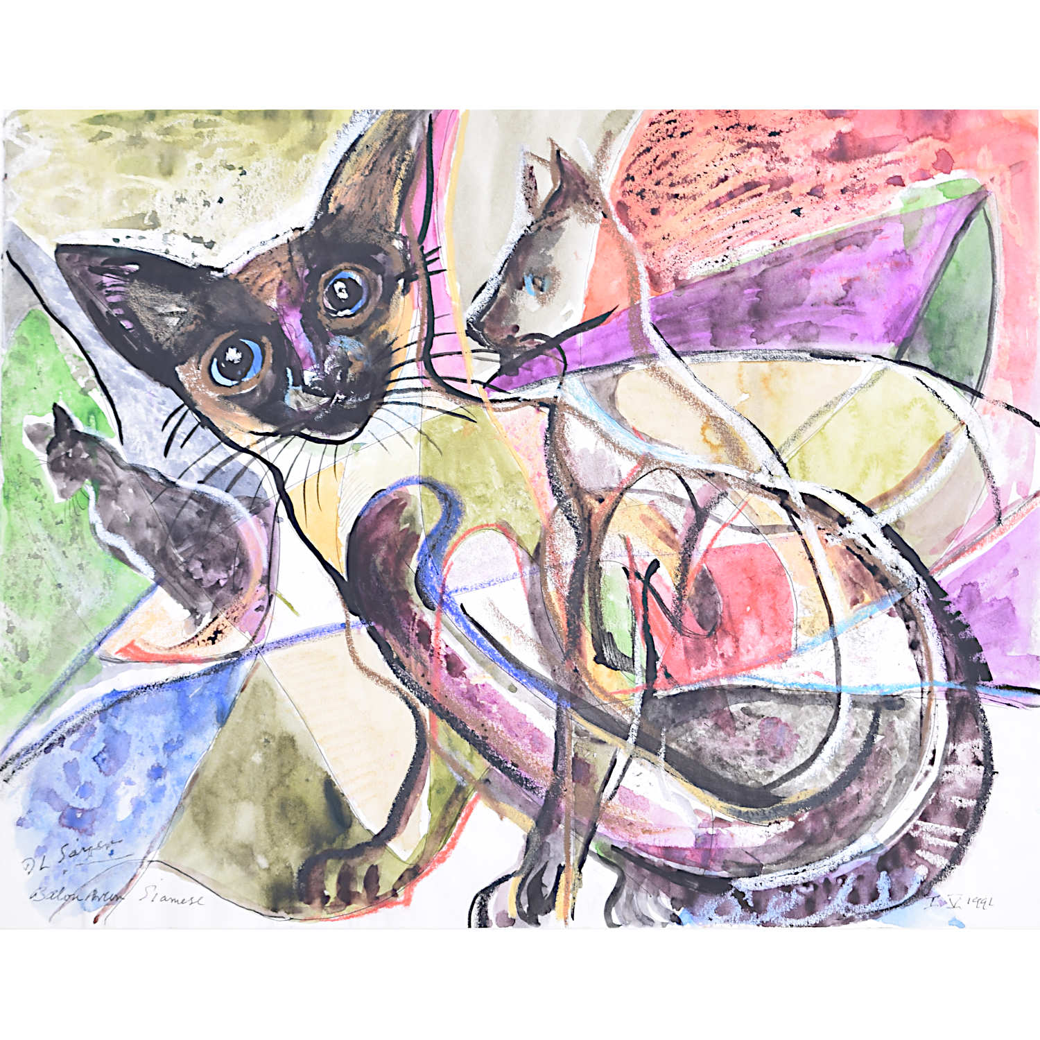 Derrick Sayer Siamese Cats for Beverley Nichols Cats ABS Watercolour
