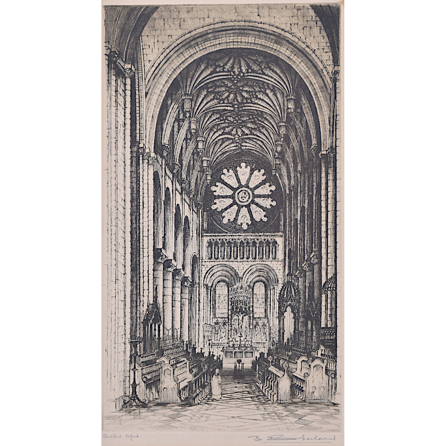 E W Sharland Christ Church Cathedral Oxford etching