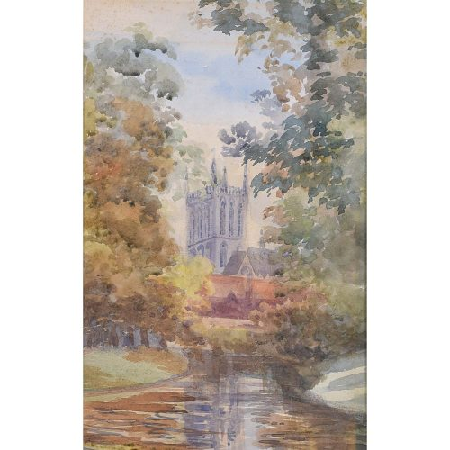 St. John's College Cambridge Watercolour 1895