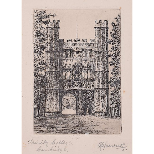 R Warwick Trinity College Cambridge Great Gate c. 1920 etching