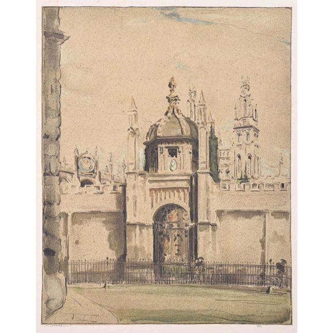William Nicholson All Souls College Oxford lithograph 1905