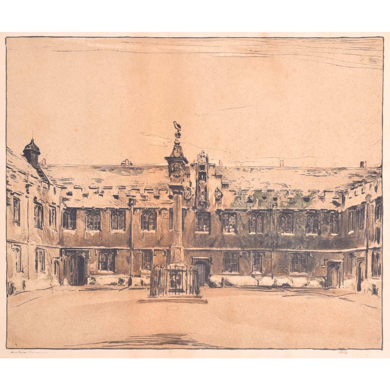 William Nicholson Corpus Christi College Oxford lithograph 1905