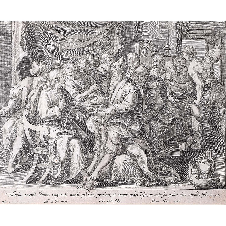 Adrian Collaert Martin de Vos Mary Washes Jesus's Feet