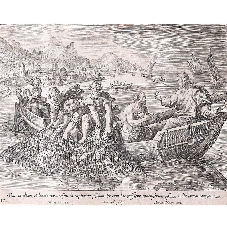 Adrian Collaert Martin de Vos Miraculous catch of fish