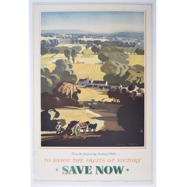 Rowland Hilder Save Now Enjoy the Fruits of Victory Poster 1945