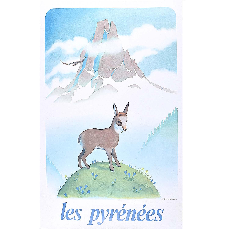 Samivel Original Ski Poster Les Pyrénées France