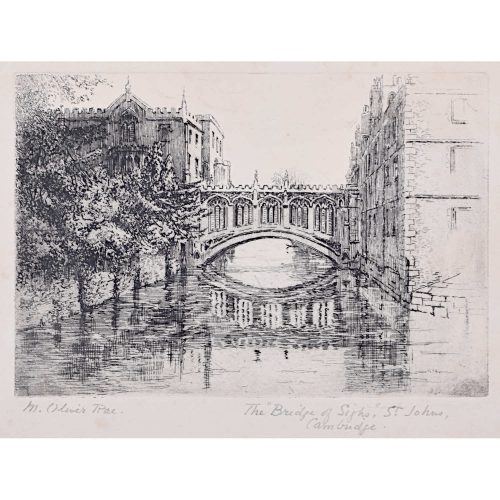 Mabel Oliver Rae St John's College Cambridge Bridge of Sighs etching c. 1920