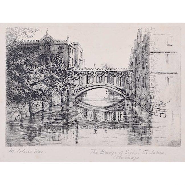 Mabel Oliver Rae St John's College Cambridge Bridge of Sighs etching c. 1920