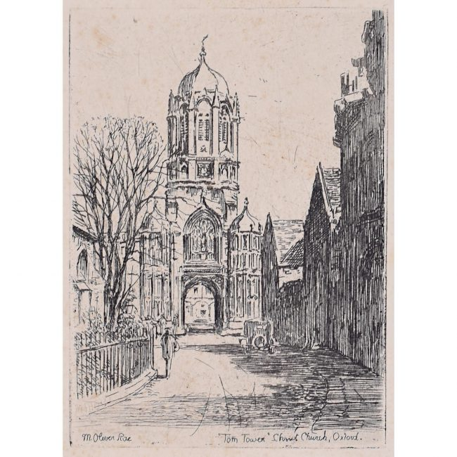 Mabel Oliver Rae Christ Church Oxford College University etching c. 1920