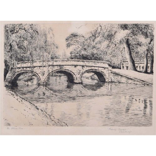 Mabel Oliver Rae Trinity College Cambridge Bridge etching c. 1920