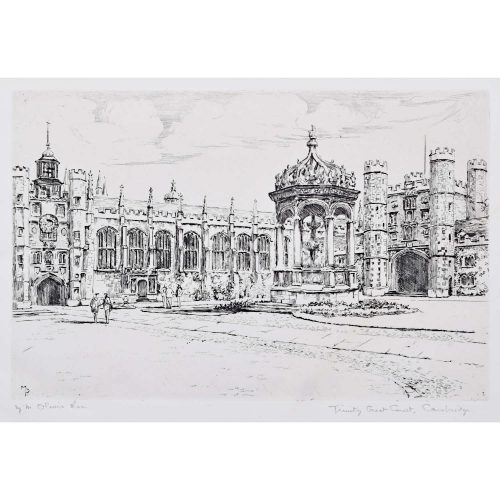 Mabel Oliver Rae Trinity College Cambridge Great Court etching c. 1920