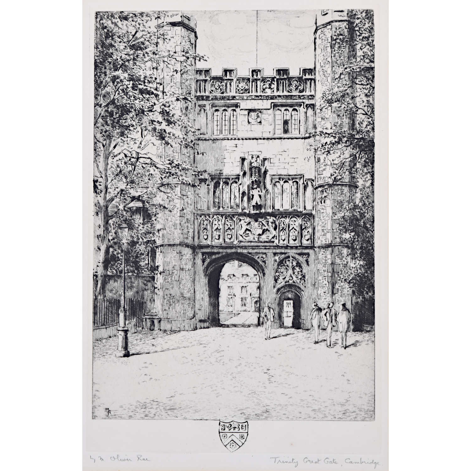 Mabel Oliver Rae Trinity College Cambridge Great Gate etching c. 1920