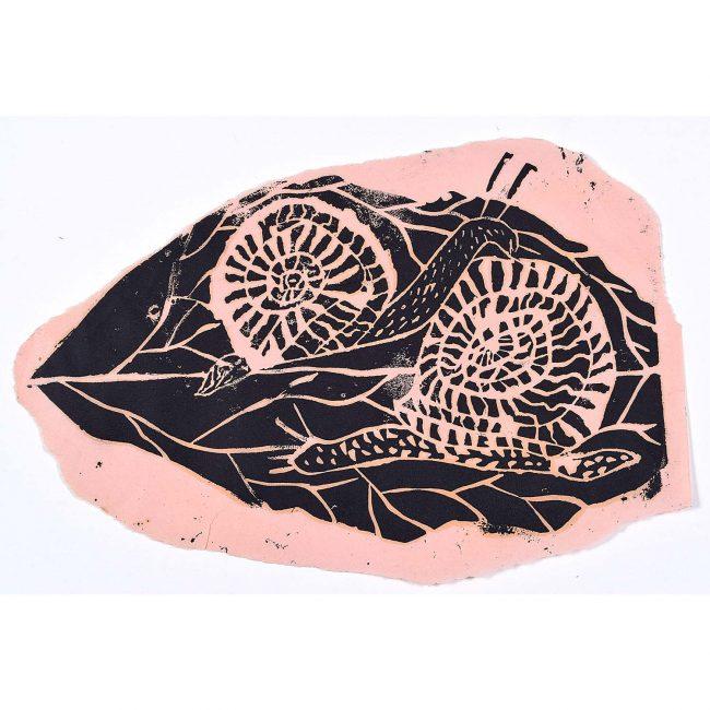 Rosemary Ellis Snail on Leaf Linocut