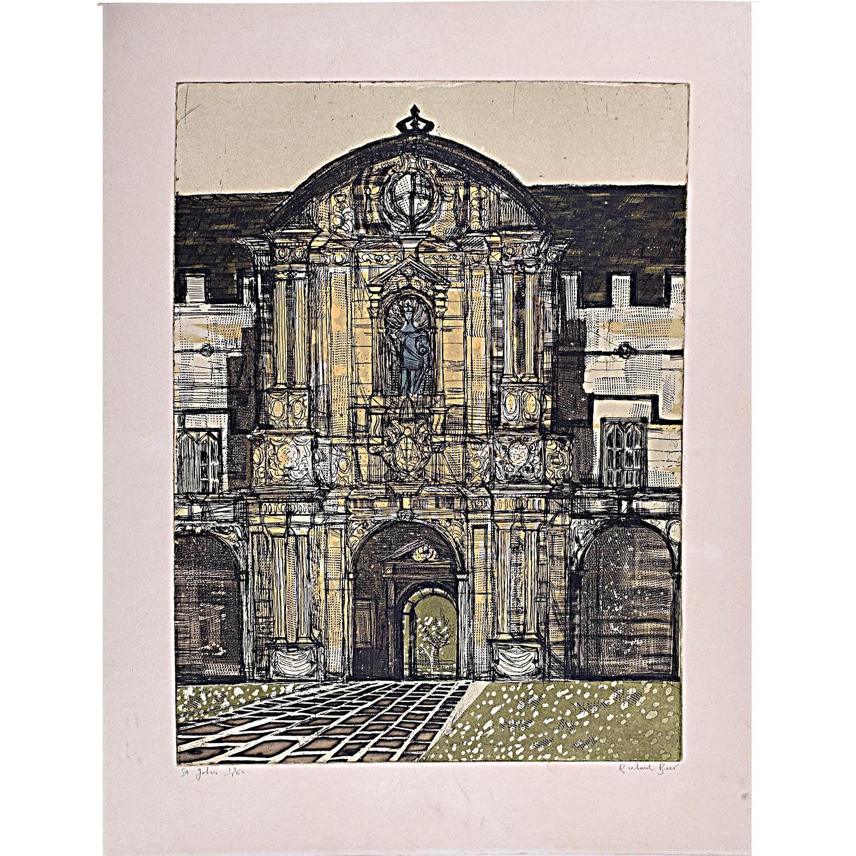 Richard Beer St John's College Oxford signed print 1964-5