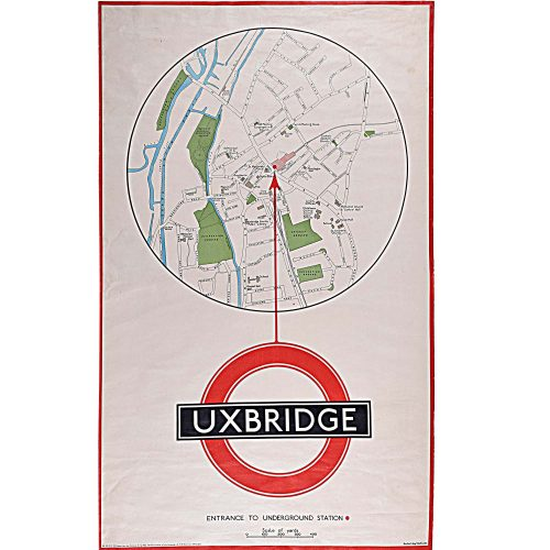 Uxbridge Tube Station Map London Transport Poster 1930s
