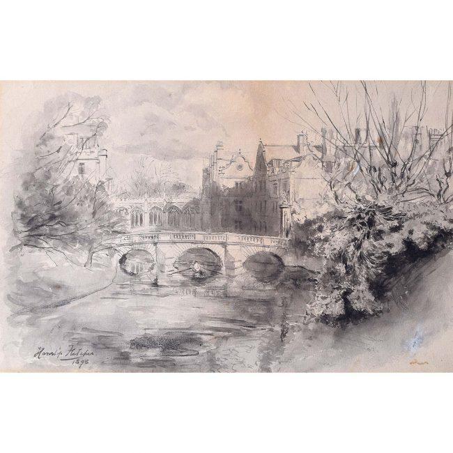 Hanslip Fletcher (1874-1955) Clare's College Bridge Cambridge