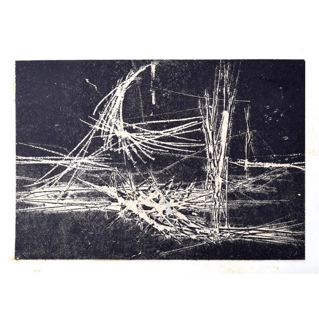 Henry Cliffe (1919-1983) Abstract Figure White on Black