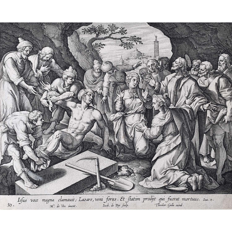 Adrian Collaert Martin de Vos Jesus Raises Lazarus From the Dead