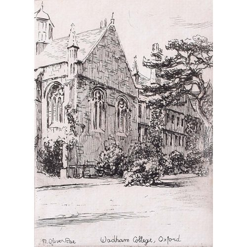 Mabel Oliver Rae Trinity College Wadham College Oxford etching c. 1920