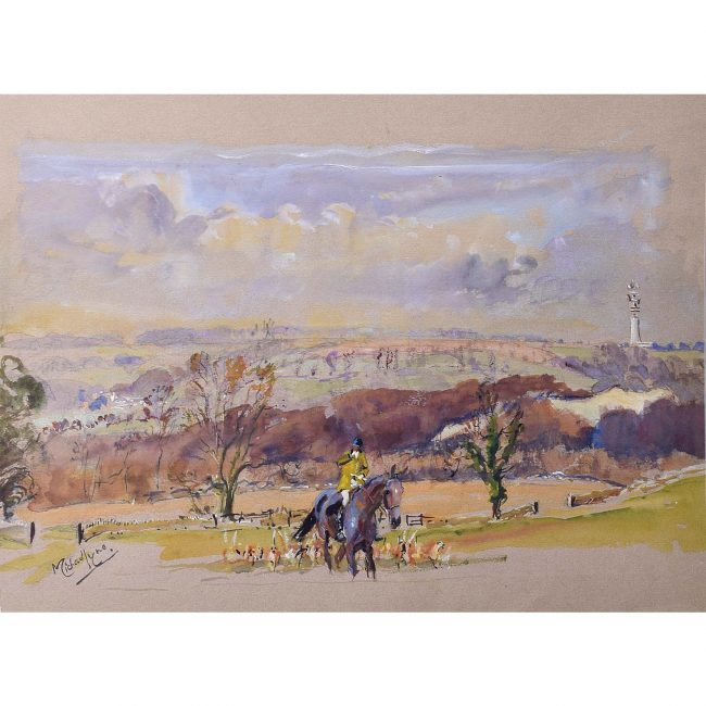 Michael Lyne (1912-1989) Huntsman and Hounds Gouache C.1940