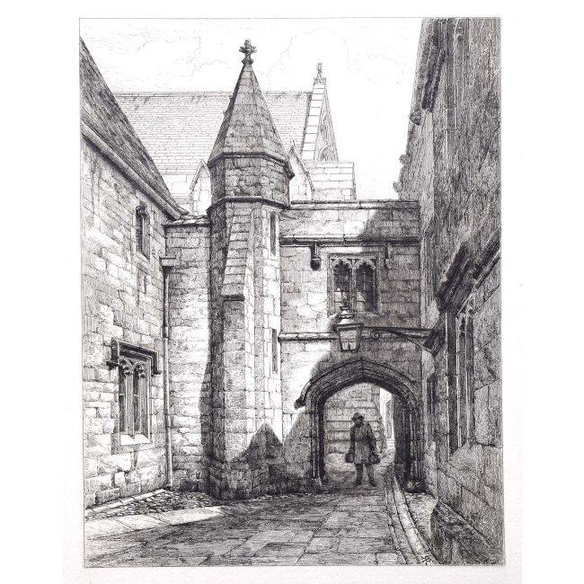 Merton College Oxford Etching